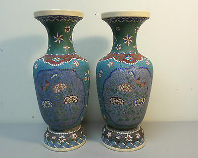 "PAIR LARGE ANTIQUE JAPANESE CLOISONNE ENAMEL on POTTERY 12""  VASES, c. 1870's"