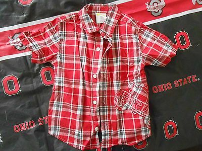 CRAZY 8 Toddler Boys Button Up Red Plaid Shirt Size 2 Yrs. Motorcycle Applique