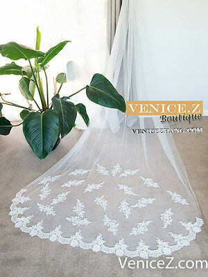 wv26 Soft Lace 3m Chapel Cathedral Length Wedding Bridal Veil Ivory White Comb