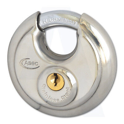 ASEC Keyed To Differ Discus Closed Shackle Stainless Steel Padlock