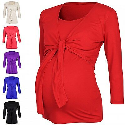 Happy Mama. Women's Maternity Nursing 2in1 Top Shirt Stretch 3/4 Sleeve. 619p