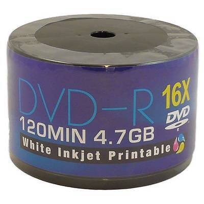 50 PACK AONE 16x SPEED DVD-R FULL FACE WHITE INKJET PRINTABLE DISCS 4.7GB