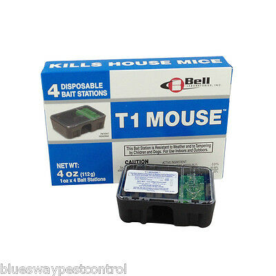 4 Tamper Resistant Mouse (T1) Baited Rodent Stations Traps + 3 Free Glueboards
