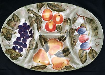 Tabletops Gallery Mixed Fruits Large 4-Part Sectioned Divided Serving Platter