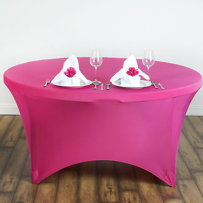 """Fuchsia ROUND 60"""" SPANDEX STRETCHABLE TABLECLOTH Wedding Catering Decorations"""