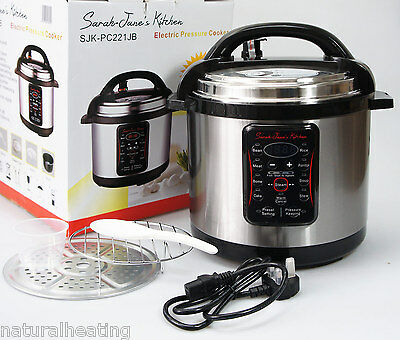 6L Electric Pressure Cooker Stainless Steel Soup Stew Casserole Rice Pot Steamer