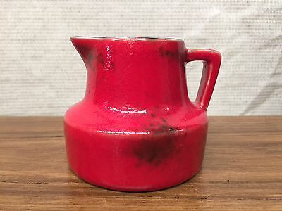 SMALL VINTAGE West German LAVA JUG Mid Century Pottery RETRO RED 4550