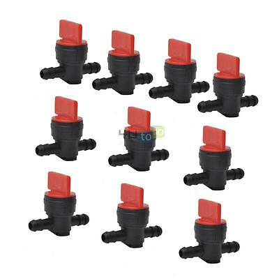 "10x 1/4"" In-Line Straight Fuel Gas Shut-Off / Cut-Off Valves Petcock Motorcycle"