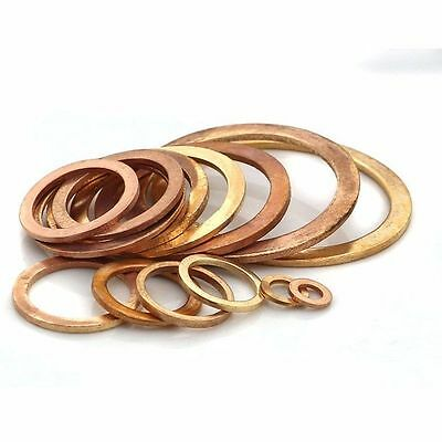 Brass Flat Washer Copper Crush Washers Gasket Seal Ring M5-M48 Thick 1-1.5-2mm