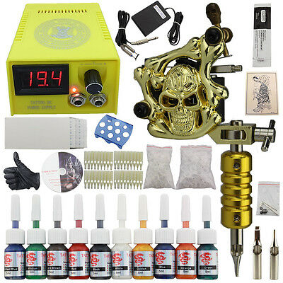 Tätowierung Tattoo Komplett Tattoomaschine Set Kit 10 Ink Power Supply DJ02A