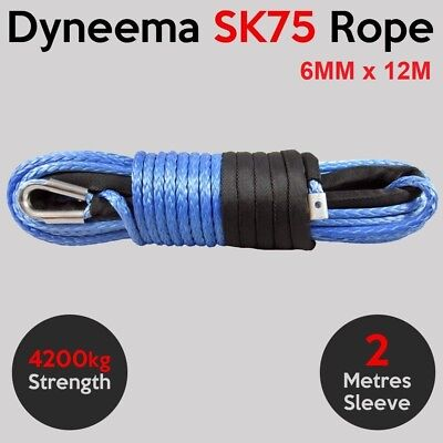 6MM X 12M Dyneema SK75 Winch Rope - ATV Quad Boat Synthetic Recovery Cable Car