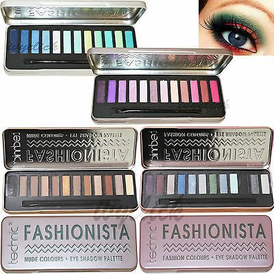Technic Fashionista Glitter Eye Shadow Palette Shimmer 12 Colours Smokey Nude
