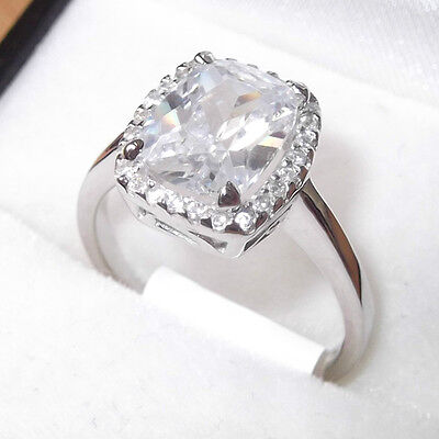 Rhodium Plated 925 Hallmarked Sterling Silver Cushion Cut Halo Engagement Ring