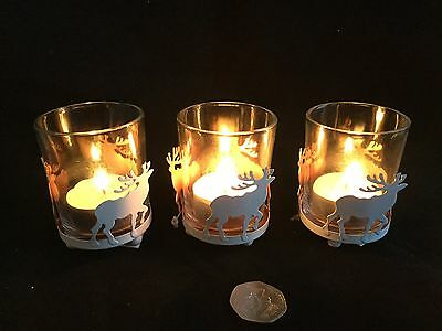 3 x White Reindeer Metal Glass Tea Light Candle Holders Christmas Vintage