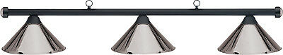 HJ Scott Black 3-Shade Bar/Gunmetal Metal Shade Billiard Pool Table Light