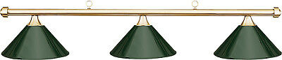 HJ Scott Brass 3-Shade Bar/Green Metal Shade Billiard Pool Table Light