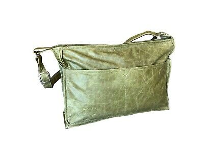 Distressed Leather Messenger Bag, Green Leather Crossbody Purse, Vintage Style