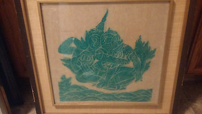 Vintage Rice Paper Temple Rubbing Art THAILAND Buddhist HINDU Green Ink Framed