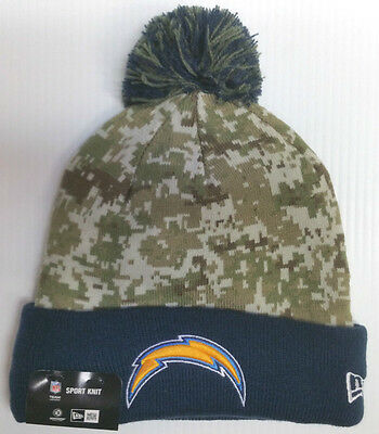 1eaf29adf26 San Diego Chargers NEW ERA Adult Camo Salute to Service Knit Cap Beanie  with Pom