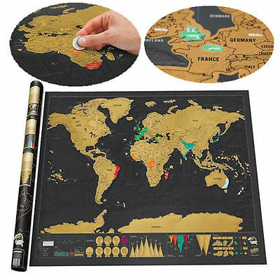1Pc Deluxe Black Scratch off Map World Map Wall Decor Travel Journal Necessary