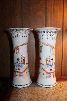 pair Vintage Chinese hand painted porcelain  vase