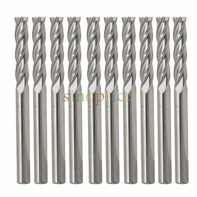 "10x Carbide CNC 4 Flute Spiral Bit End Mill Cutter 1/8"" Shank 15mm Blade Milling"