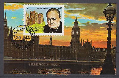 Sharjah Block 197 Sir Winston Churchill gestempelt