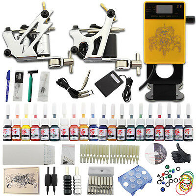 Completi Tattoo Kit Tatuaggio 2 Macchinette Tatuaggi 20 Ink Needles Supply DJ26