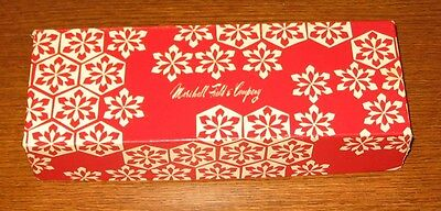 "Red and white Marshall Fields gift box 10 1/4"" x 3 3/4"" x 2"""