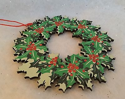 12cm Wood Holly Wreath Christmas Tree Decoration Red Glitter Berries Vintage