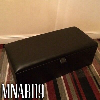 40 Inch Black Plain Large Leather Ottoman Storage Blanket Toy Box Bedroom Chest