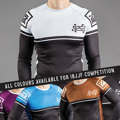 Scramble (V2) IBJJF BJJ Jiu Jitsu Ranked Rashguard Rash Guard White Blue Purple