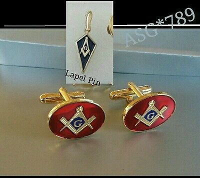 Masonic Cuff links Red Blue + Square & Compass Lapel Pin Gold Plated +G/Bag