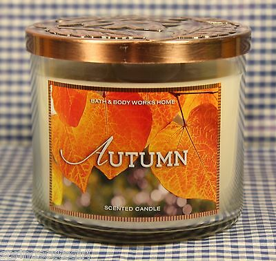 1 Bath & Body Works AUTUMN 3-Wick Scented 14.5 oz Candle