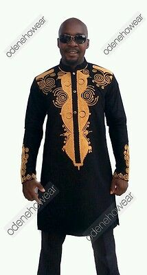 Odeneho Wear Men Black Polished Cotton Outfit/Gold Embroidery.African Clothing.