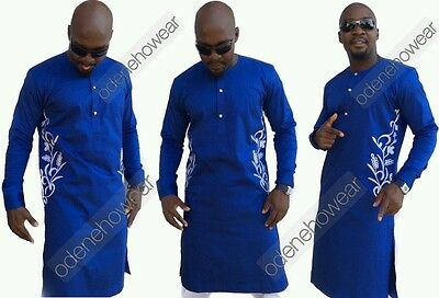 Odeneho Wear Men's Blue Polished Cotton Top/ Embroidery Design. African Clothing