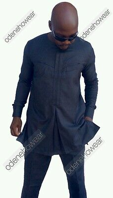 Odeneho Wear Men's Black Polished Cotton Top And Bottom. African Clothing