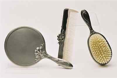 New BRUSH COMB and MIRROR SET of 3 Pewter Finish Gift Pack