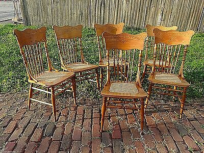 Victorian Ornate pressback antique chairs Set of 6 matching