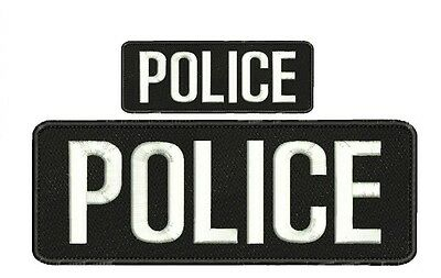 police embroidery Patches 4x10 and 2x5 Velcro ON BACK