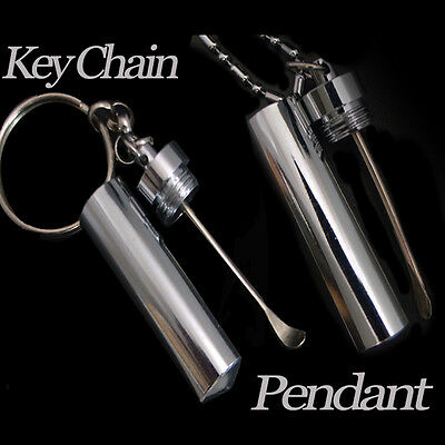 Snuff Tube Pendant And Key Chain With 2 Spoon Magnificent with chain 60 cm