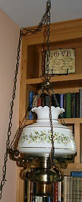 "Hanging Swag Victorian Hurricane Library Lamp 2-Lights 10"" Glass Shade Floral"