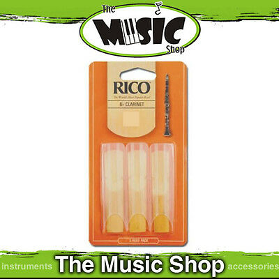 Rico 1 1/2 Strength Bb Clarinet Reeds - 3 Pack - New The Music Shop - Reed