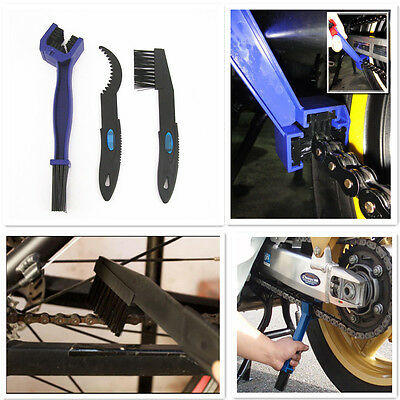 3 Pcs Moto Chain Gear Cycle Brake Oil Dirt Remove Cleaning Brush Tools Universal