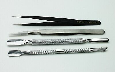4Pcs Nail Cuticle Spoon Pusher Remover and Tweezer Stainless Steel Nail Tool Set