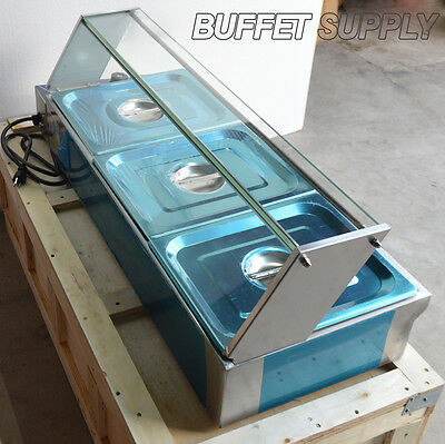 3-Pan Bain-Marie Food Warmer Steam Table Restaurant Stainless Steel 1500W