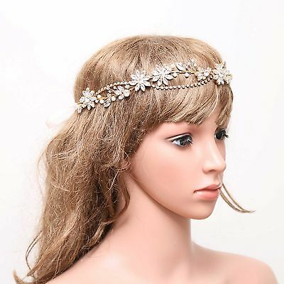 Bridal Wedding Rhinestone Crystal Flower Gold Holo Pearl Hair Tiara Headpiece