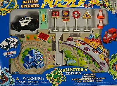 New Police Car Battery Operated 16 Pc Puzzle Set Collectors Edition P/N: S-1779P
