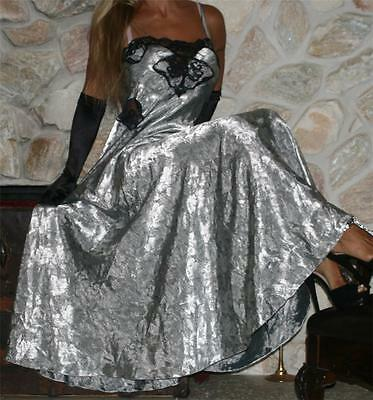 SMALL SWEEPING SILVER SATIN VINTAGE LINGERIE SLIP NIGHTY Nightgown NEGLIGEE