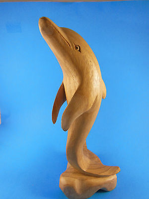 Beautiful Hand Carved Light Colored Wood Bottle Nosed Dolphin 11.5""